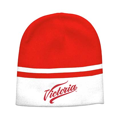 Victoria White And Red Beanie