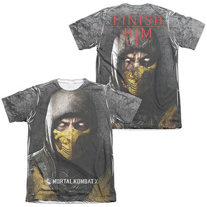 Mortal Kombat X Finish Him  White 2-Sided Sublimation T-Shirt