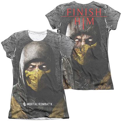 Mortal Kombat X Finish Him  White 2-Sided Juniors Sublimation T-Shirt