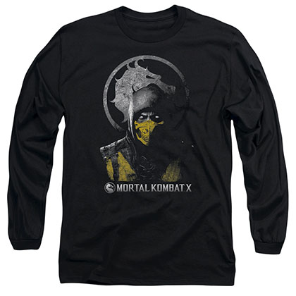 Mortal Kombat X Scorpion Bust Black Long Sleeve T-Shirt