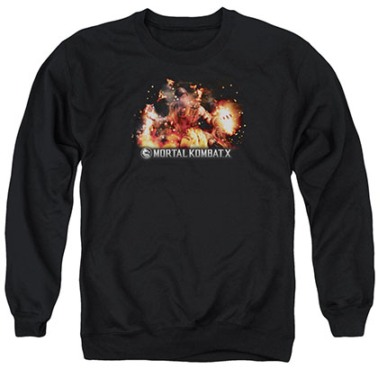Mortal Kombat X Scorpio Flames Black Crew Neck Sweatshirt