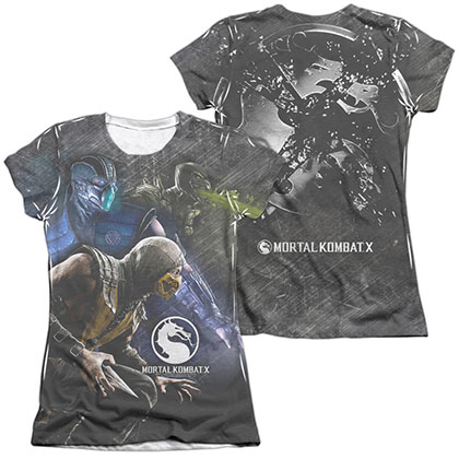 Mortal Kombat X Three Of A Kind  White 2-Sided Juniors Sublimation T-Shirt