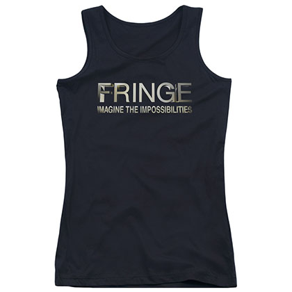 Fringe Logo Black Juniors Tank Top