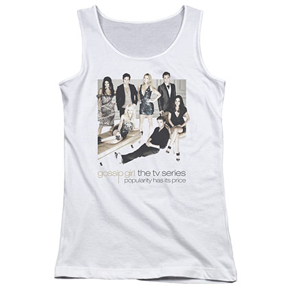 Gossip Girl Sitting Around White Juniors Tank Top