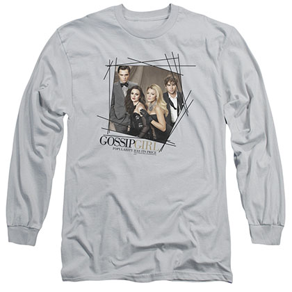 Gossip Girl Line Border Gray Long Sleeve T-Shirt