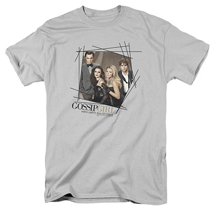 Gossip Girl Line Border Gray T-Shirt