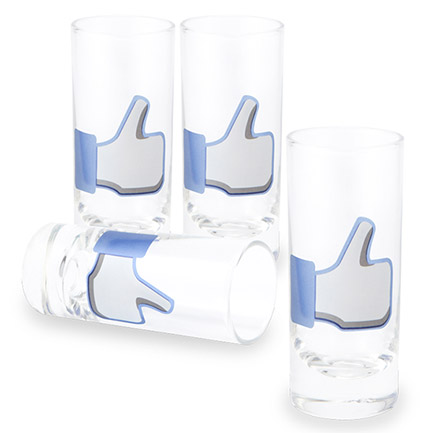 Set of 4 Facebook Like Shot Glasses