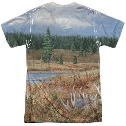 Grizzly Bear Hunting and Fishing Two Sided Print Tshirt