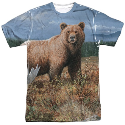 10c1dfccd6 Grizzly Bear Hunting and Fishing Two Sided Print Tshirt