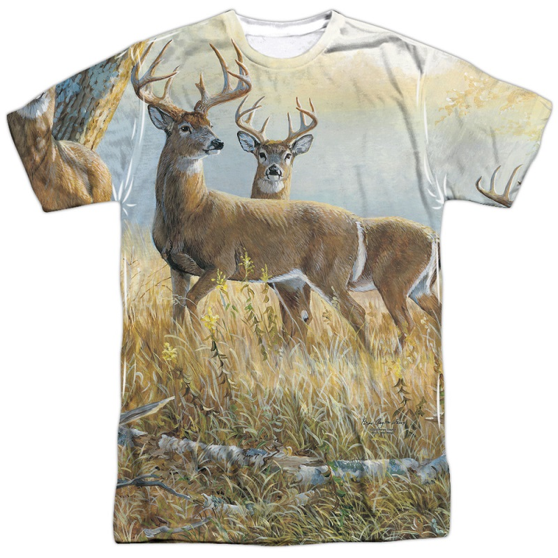 Deer in the Field Hunting and Fishing Two Sided Shirt