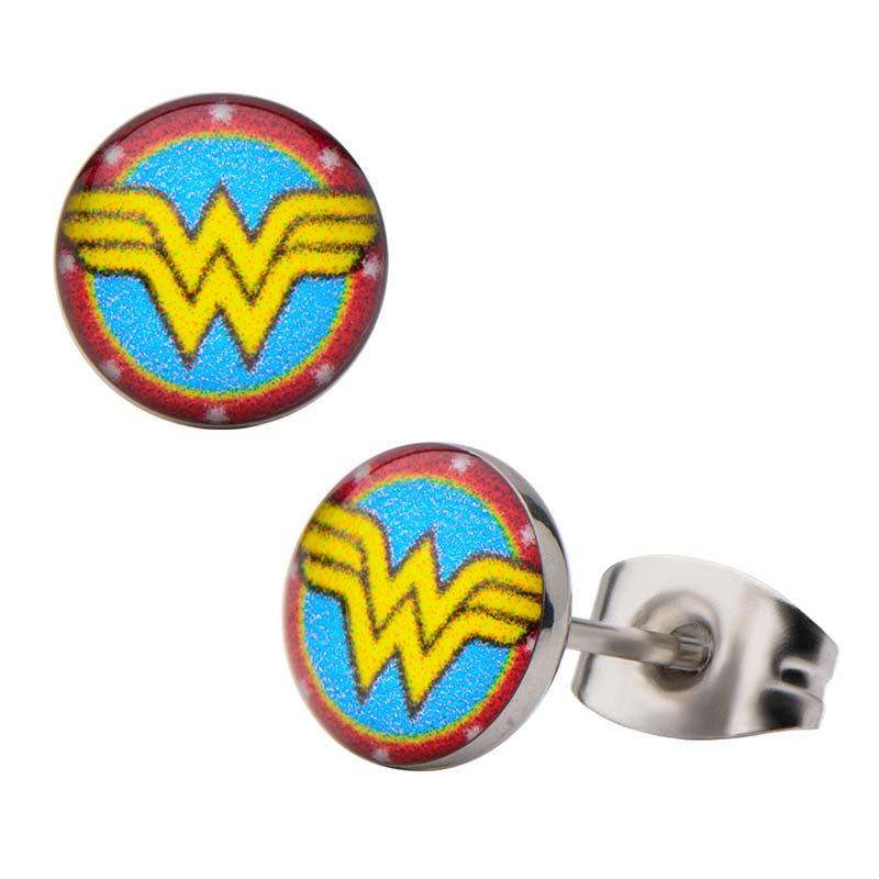 Wonder Woman Round Logo Earrings