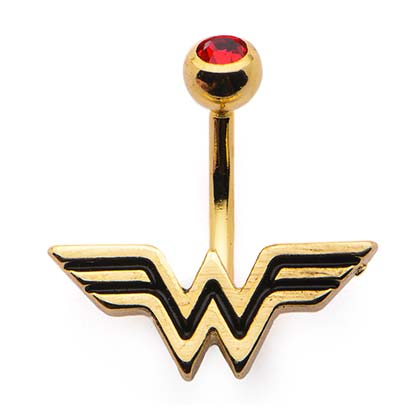 Wonder Woman Gold Plated Belly Button Ring
