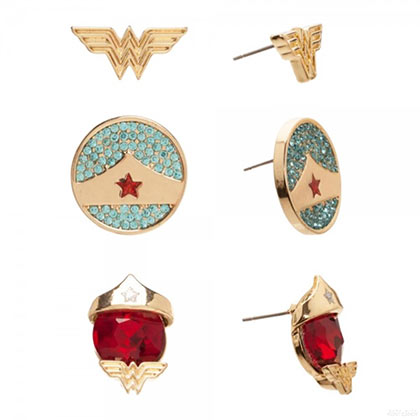 Wonder Woman Stud Earrings Trio