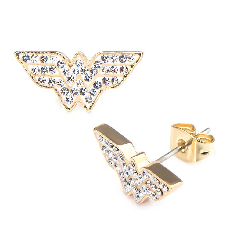 Wonder Woman Superhero Gem Stud Earrings