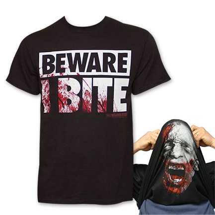"The Walking Dead ""Beware I Bite"" Flip-Up Tee - Black"