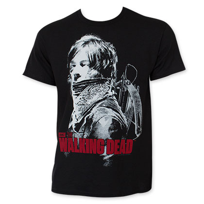 The Walking Dead Men's Black Daryl Bandana Tee Shirt