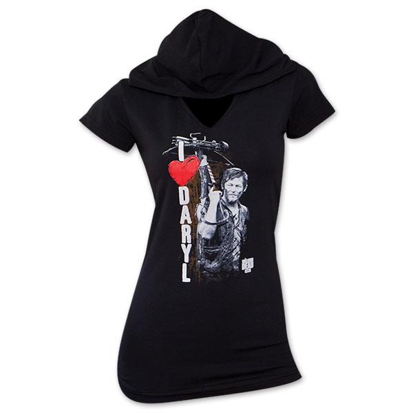 Walking Dead I Heart Daryl Hooded Tee Shirt