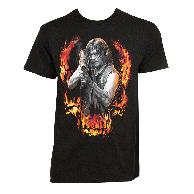 Walking Dead Men's Black Flaming Daryl T-Shirt