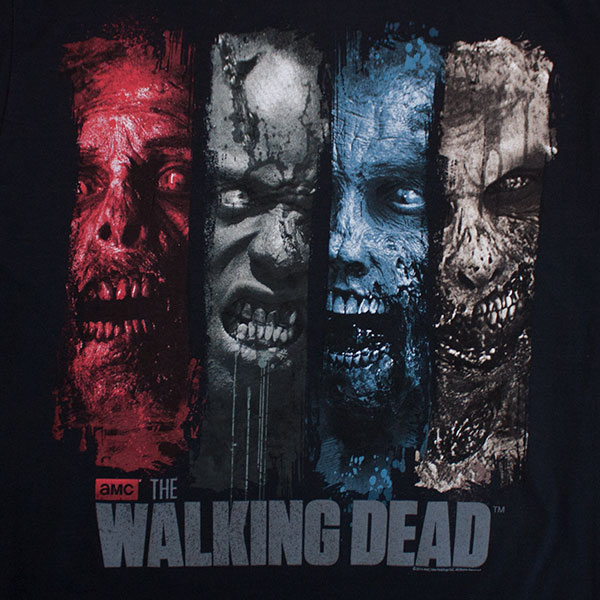 The Walking Dead Zombie Colored Panel Black T-Shirt
