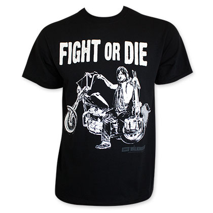 Walking Dead Men's Black Fight Or Die Tee Shirt
