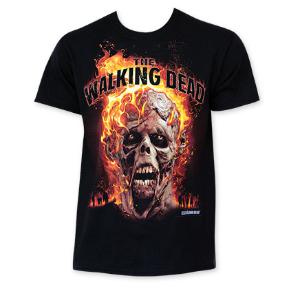 The Walking Dead Men's Black Burning Zombie T-Shirt