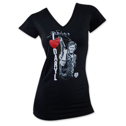 The Walking Dead I Heart Daryl Winged Black Women's T-Shirt