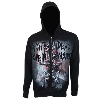 Walking Dead Men's Black Don't Open Dead Inside Hoodie