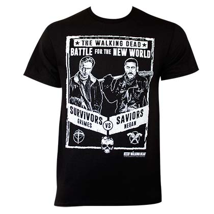 Walking Dead Men's Black Grimes Vs Negan Poster T-Shirt