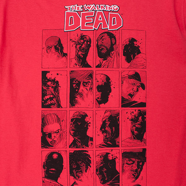 Walking Dead Faces Tee Shirt - Red