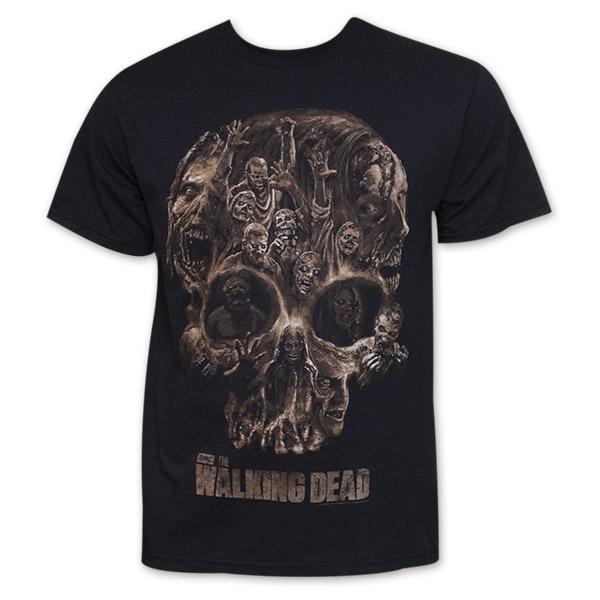 the walking dead walker skull t shirt. Black Bedroom Furniture Sets. Home Design Ideas
