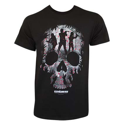 Walking Dead Men's Black Skull Logo T-Shirt
