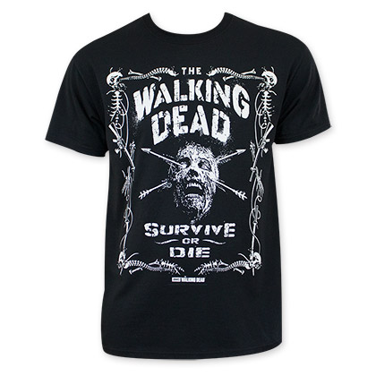 Walking Dead Survive Or Die Jack Daniels Style Tee Shirt