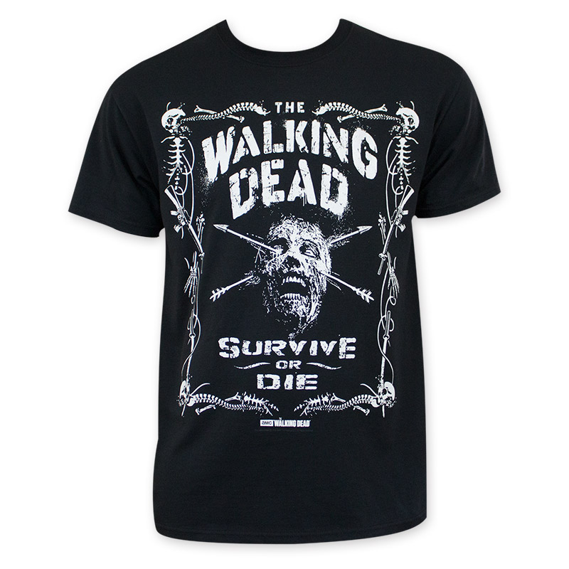 Walking Dead Men's Black Survive Or Die T-Shirt