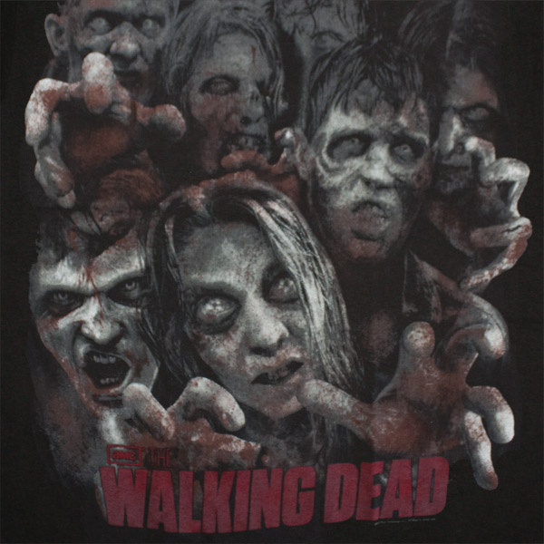 Walking Dead Zombie Crowd T Shirt - Black