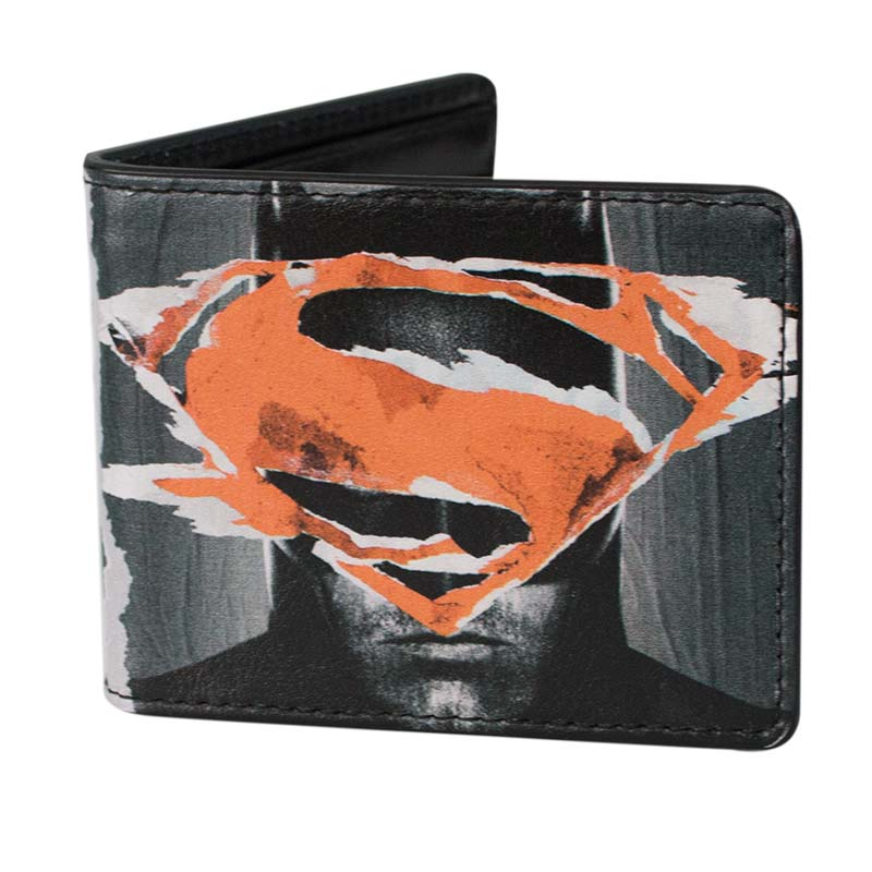 Batman V Superman Bifold Wallet Faces Logos