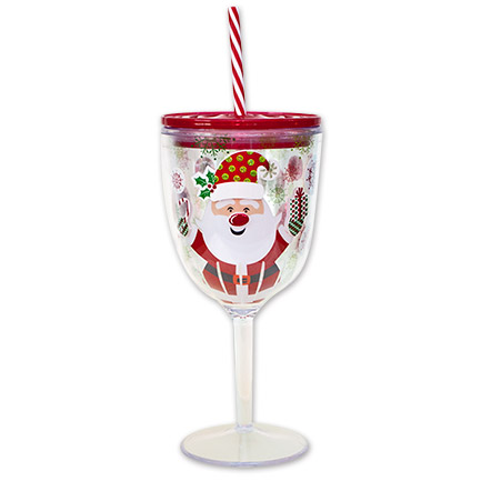 Santa Claus Wine Glass With Lid