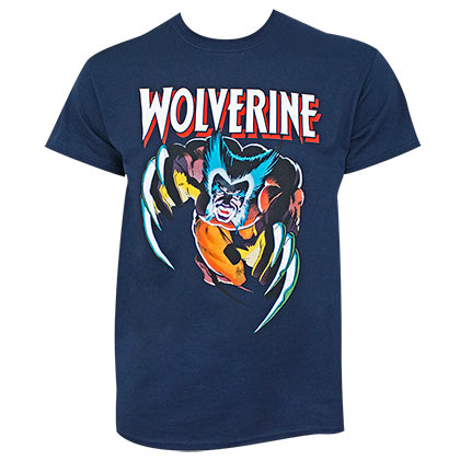 Wolverine Claw Attack Navy Blue Tee Shirt