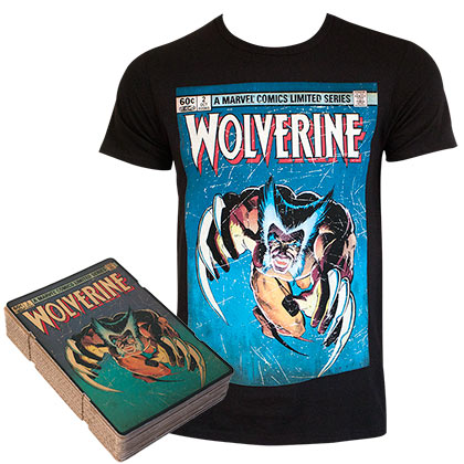 Wolverine Men's Black Comic Cover Boxed T-Shirt
