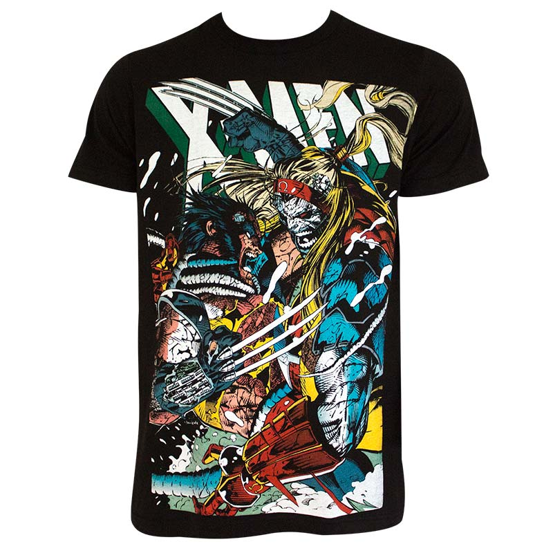 946d7615 X-Men Men's Black Wolverine Vs Omega T-Shirt | SuperheroDen.com