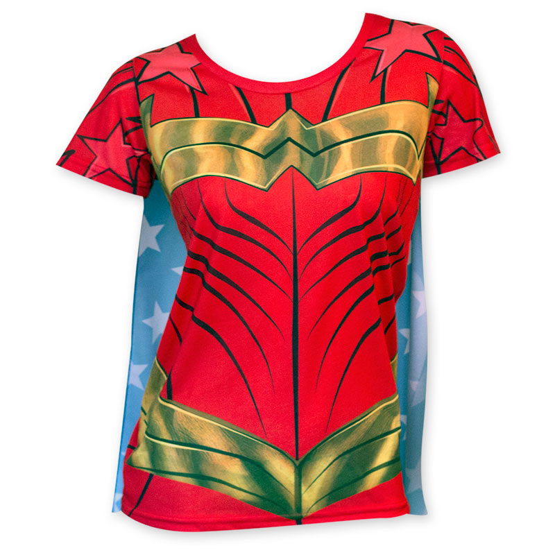 wonder woman sublimated women 39 s caped costume t shirt. Black Bedroom Furniture Sets. Home Design Ideas
