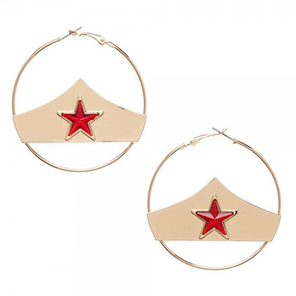 Wonder Woman Star Logo Hoop Earrings