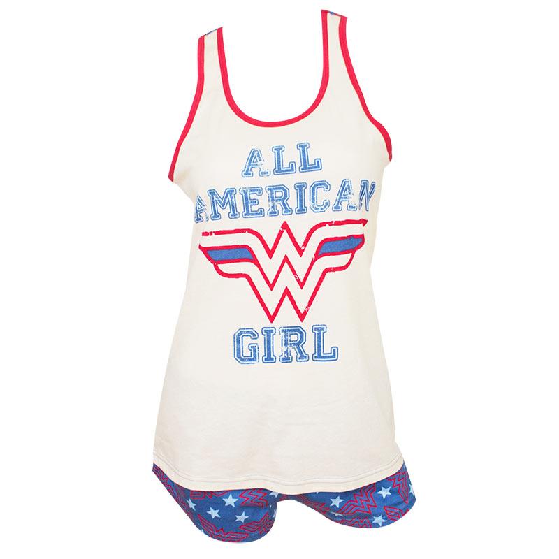 Wonder Woman Ladies White All American Girl Pajama Set