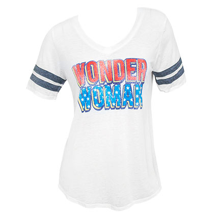 Wonder Woman White Women's Burnout Varsity T-Shirt