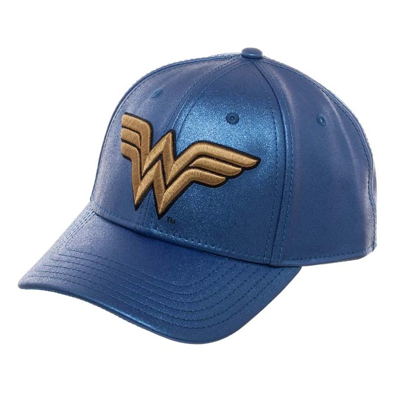 Wonder Woman Logo Snapback Blue Glitter Hat