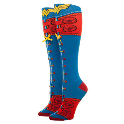 Wonder Woman Knee High Lace Up Socks
