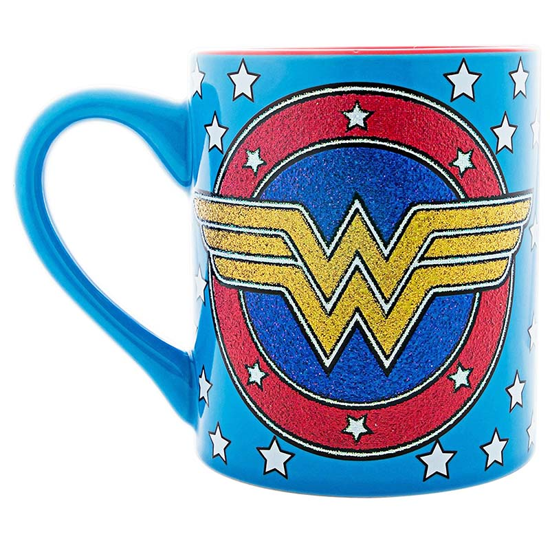 Wonder Woman Ceramic Blue Glitter Logo Mug