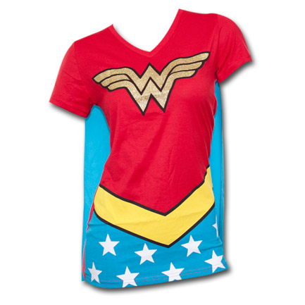 Wonder Woman Women's Costume Shirt With Cape