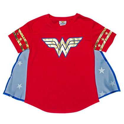 Wonder Woman Caped Costume Youth Girls Tee Shirt