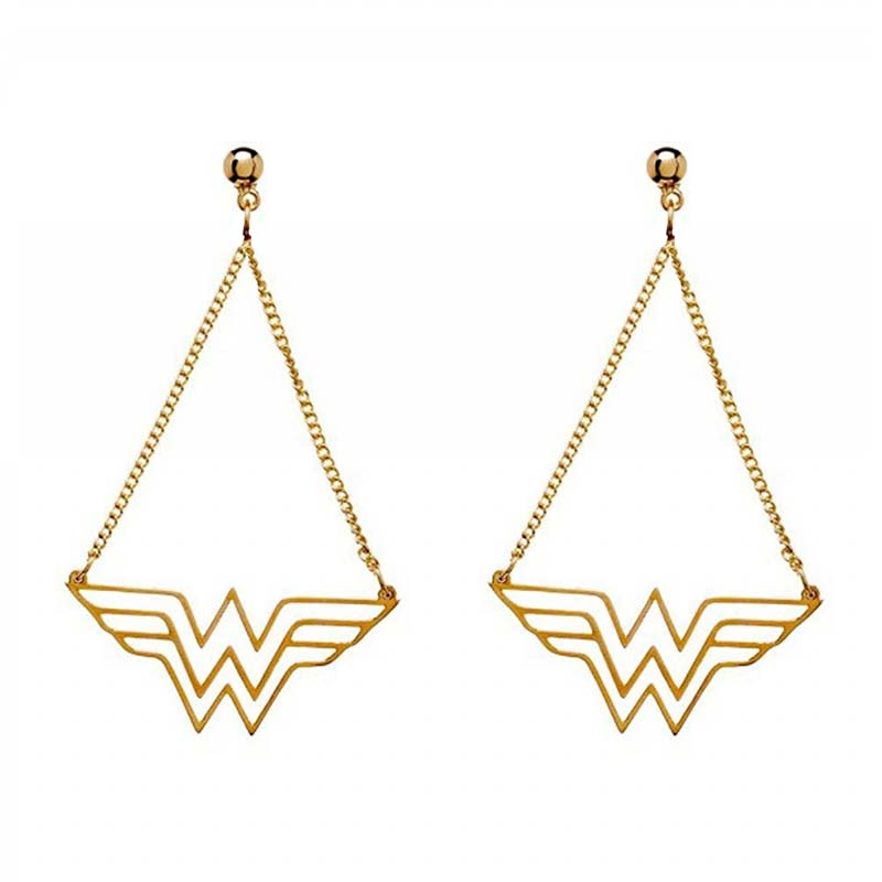 Wonder Woman Chain Logo Earrings