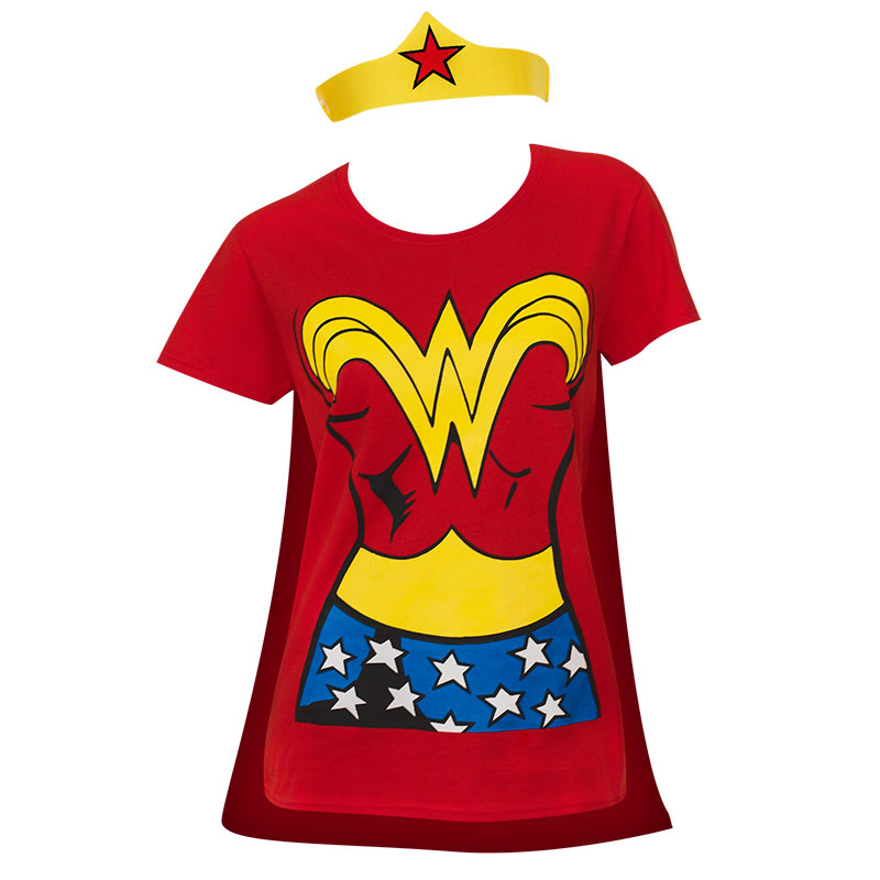 Wonder Woman Women's Red Cape/Tiara Costume T-Shirt